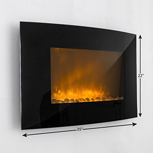 GHP Home 110-120V 36''Lx24''Hx6''W Electric Wall-mounted Fireplace Heater