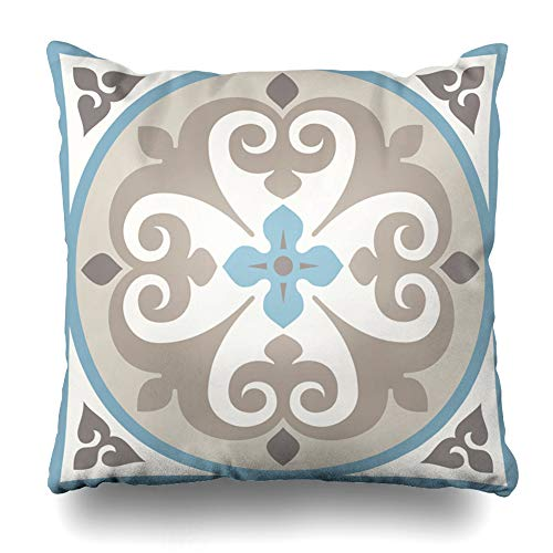 (Ahawoso Throw Pillow Cover Square 20x20 Moroccan Blue Ancient Floor Ceramic Tiles Flory Flooring Tiling Brown Spanish Tiled Victorian Design Flower Home Decor Cushion Case Pillowcase)