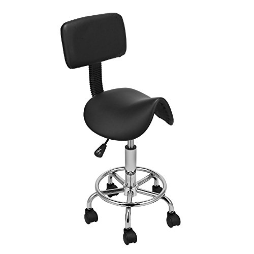 Gracelove Adjustable Swivel Saddle Salon Stool Massage Spa Seat Tattoo Facial Doctor Medical Chair Office Backrest (Iron Horse Tattoo)
