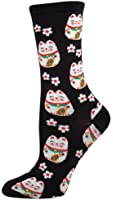 Socksmith Lucky Cat Womens Black Crew Socks