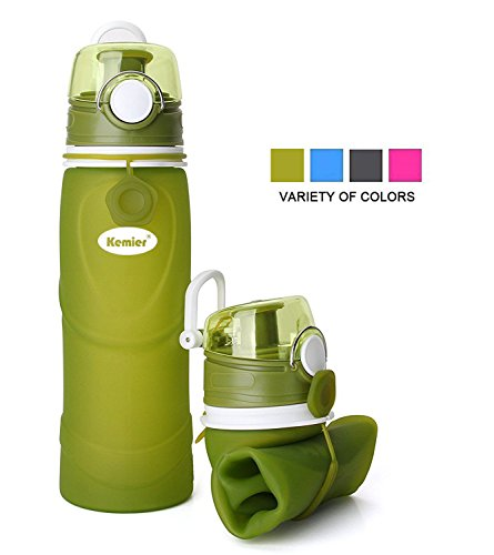 Kemier Collapsible Silicone Water Bottles-750ML,Medical Grade,BPA Free,FDA Approved.Can Roll Up,26oz,Leak Proof Foldable Sports & Outdoor Water Bottles (Green) (Collapsible Water Bottles)