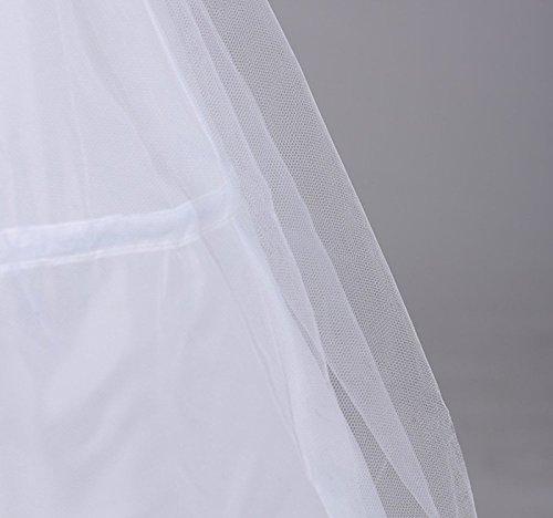 Edith qi Petticoat Enagua 3/4/6 Aros, Largo Miriñaque, Crinolina Vestido de Novia, Aros Ajustable, Un tamaño, Conveniente para el tamaño XS-XXL 3p-blanco