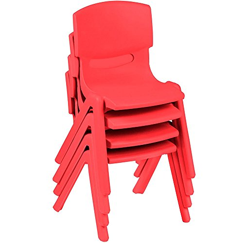Kids Chairs, Stackable Plastic Learn and Play Chair for School Home Play Room, Colorful Chairs for Toddlers, Boys, Girls (Red) ()