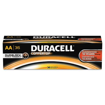 CopperTop Alkaline Batteries with Duralock Power Preserve Technology, AA, 36/Pk, Sold as 1 Package, 36 Each per Package