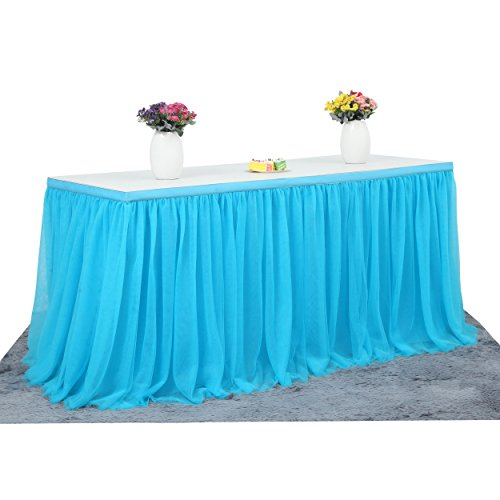 Suppromo 2 Yards High-end Gold Brim 3 Layer Mesh Fluffy Tutu Table Skirt Tulle Tableware For Party,Wedding,Birthday Party&Home Decoration (L6(ft) H 30in, Blue) (Ware Table)