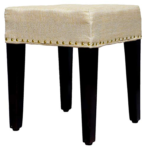 MODWAY Wooden Ottoman Pouffe Stool for Sitting (Cream Cushion)