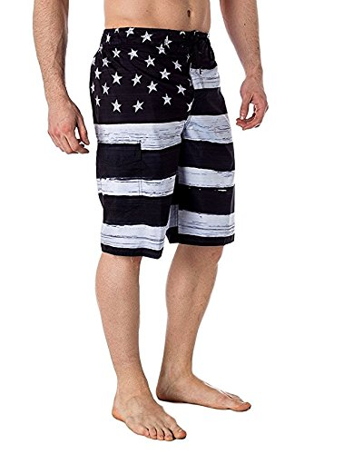 VbrandeD Men's American Flag Inspired Board Shorts Black M by US Apparel