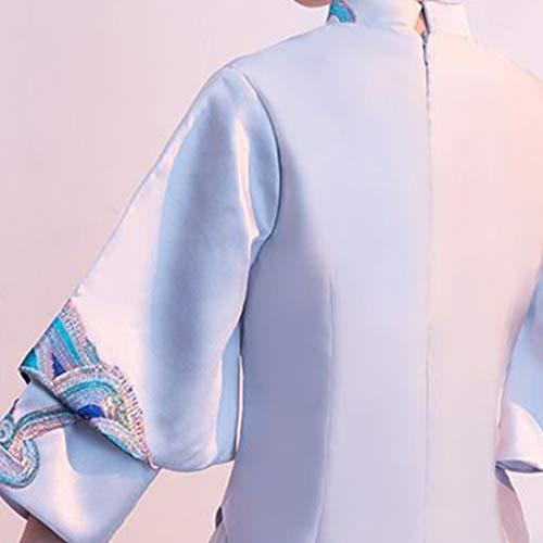 Souliyan Women's Stand Collar Cheongsam Dress Long Dress (Color : Gray, Size : M) ()