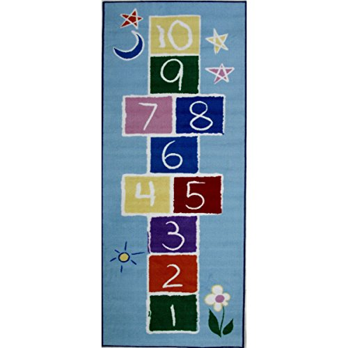 Primary Hopscotch Rug (LA Rug Primary Hopscotch Blue Accent Rug - 1'6 x 2'4)