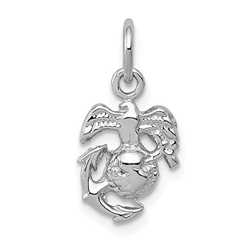 14k White Gold U.s. Marine Corps Insignia Pendant Charm Necklace Career Professional Military Fine Jewelry Gifts For Women For Her ()