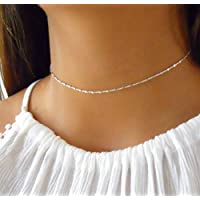 Sterling Silver Choker Necklace Chain With Tiny Squares