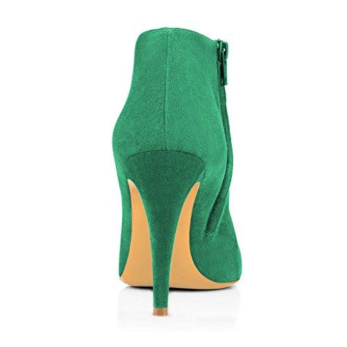 Fsj Femmes Mode Talons Hauts Bottines Faux Daim Amande Toe Côté Fermeture À Glissière Bureau Chaussures Taille 4-15 Us Vert