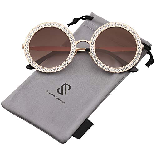 SOJOS Round Oversized Rhinestone Sunglasses for Women Diamond Shades SJ1095 with Gold Frame/Gradient Brown Lens with White Diamond from SOJOS