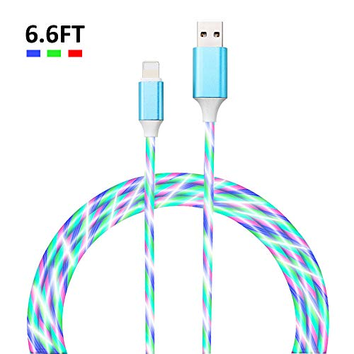 Belucky-Tech 6FT LED Charging Cable Visible Flowing Current Color Change USB Charger Cable for Phone 6/7/8/X/Plus/Pad (Multi Colored-for 5/6/7/8/X and More)