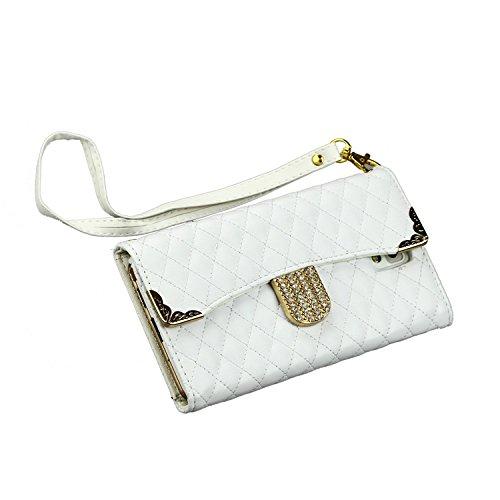 Note 3 Case,Note 3 Wallet Case,Caseland@ Sling Chain Wallet Galaxy Note 3 Case Handbag Leather Folio Case Rhinestones Lattice Diagonal Gold Border white