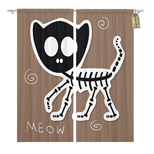Golee Window Curtain Halloween of Funny Cat Skeleton