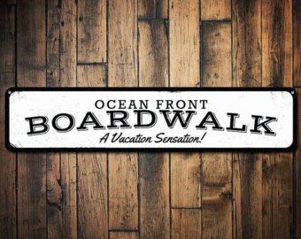 - C B Signs L.E.D. Ocean Front Boardwalk Sign, Personalized Vacation Secation Sign, Custom Boardwalk Location Beach House Decor - Quality Aluminum