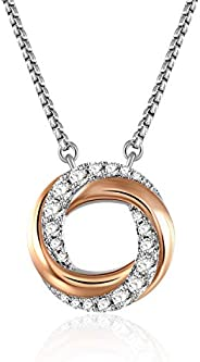 Grecia Double Circle Round Pendant Necklace, 14K Rose Gold Rings Necklace Christmas Day Valentine's Day An