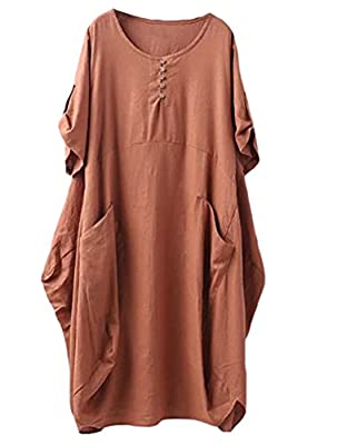 Minibee Women's Ruffle Oversize Casual Midi Dresses with Pockets