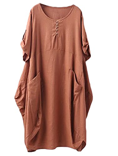 (Minibee Women's Ruffle Loose Casual Midi Dresses with Pockets Orange M)