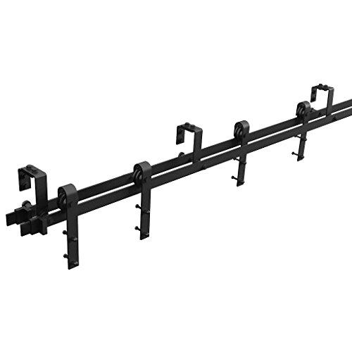 (WINSOON Sliding Double Track Bypass Barn Door Hardware 12ft/144inch Kit Black,U-Shape Bracket Low Ceiling,J Shape Hanger,Rustic Heavy Duty Interior Exterior)