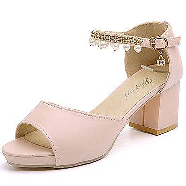 pwne Club De Mujeres Sandalias Zapatos Casual Ropa De Verano Pu Rhinestone Imitación Perla Hebilla Chunky Talón Rubor Rosa Beige 3A-3 3/4 Pulg. US8 / EU39 / UK6 / CN39