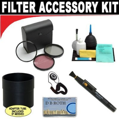 High Resolution 3-piece Filter Set (UV, Fluorescent, Polarizer) + 6-Piece Deluxe Cleaning Kit + Lens Adapter Tube (If Needed) + Lenspen + Lens Cap Keeper + DB ROTH Micro Fiber - A540 Cover