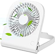Personal USB Desk Fan, iHoven Mini Portable 14h Cooling Office Rechargeable Small Table Fan, 4800mah Quiet Bat
