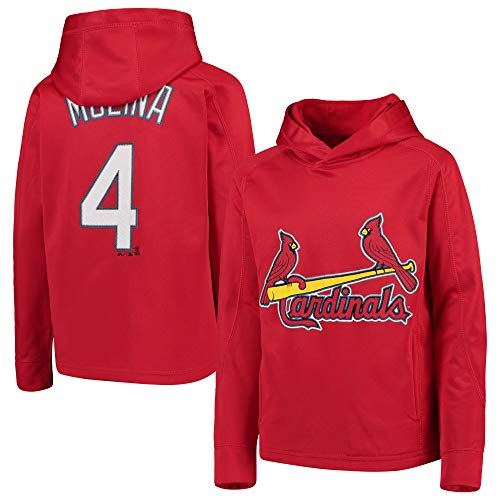 (Outerstuff MLB Youth 8-20 Polyester Performance Player Name & Number Pullover Sweatshirt Hoodie (Medium 10/12, Yadier Molina St Louis Cardinals Red))