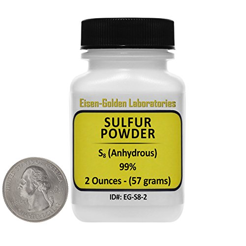 Sulfur Powder [S8] 99% ACS Grade Powder 2 Oz in a Mini Space-Saver Bottle USA