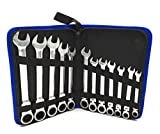 JENLEY 12 Piece 8-19mm Metric Flexible Head Ratcheting Wrench Combination Spanner Set