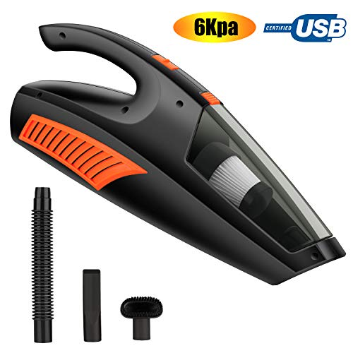 Handheld Vacuum Cleaner Cordless,6KPA Hand Vacuum Cleaner USB Rechargeable Hand Vac Lightweight Wet Dry Vacuum for Home Pet Hair Car Cleaning