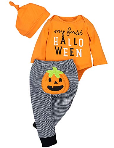 Newborn Halloween Costumes Pumpkin Pants Long Sleeve Outfits Set Baby Boys Girls Clothes My First Halloween(6-12M)]()