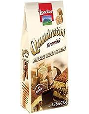 Loacker Quadratini Premium Italian Tiramisu' Wafer Cookies, 220g/7.76oz, Tiramisu, 220 Grams