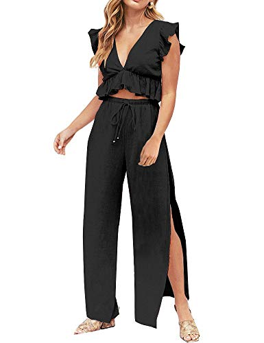 FANCYINN Womens 2 Pieces Outfits Deep V Neck Crop Top Side Slit Drawstring Wide Leg Pants Set Jumpsuits Black L 2 Piece Cotton Overalls