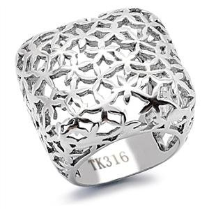 (Eternal Sparkles Women's Stainless Steel High-Polished Square Floral Cutout Cocktail Ring - Size)