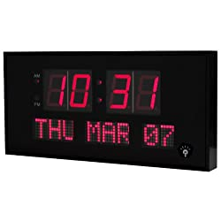 eHealthSource Big Oversized Digital LED Calendar Clock, 15 3/4-Inch