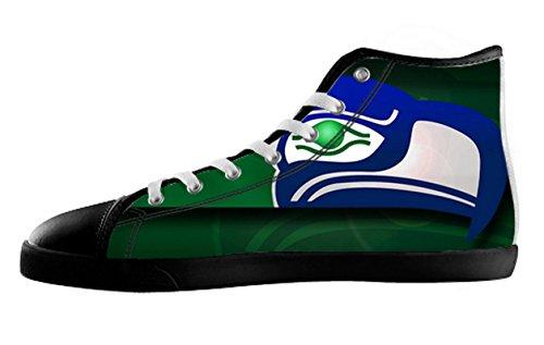 Seahawks Logoman Halkfria Svart Hög Topp Tygskor Seahawks Canvas Shoes09