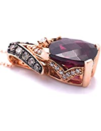 LeVian Pendant Rhodolite Garnet Chocolate and White Diamonds 3.47 cttw Necklace 14k Rose Gold