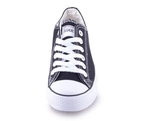 Mixmatch24 Damen Canvas Leinwand Sneaker Basic Low in verschiedenen Farben - Zapatos de cordones de lona para mujer negro - negro