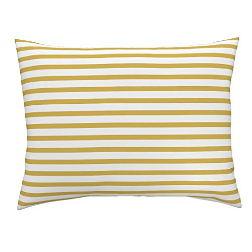 Roostery Mustard Stripe Gold Stripe Euro Knife Edge Pillow Sham Stripe Little Safari by Littlearrowdesign 100% Cotton Sateen (Safari Stripe Sham Euro)