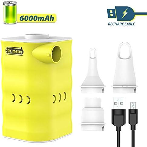 Dr.meter Rechargeable Air Pump 6000mah Powerful Electric Air Quick-Fill Pump Inflator/Deflator Air Mattress Portable Pump3-Nozzle