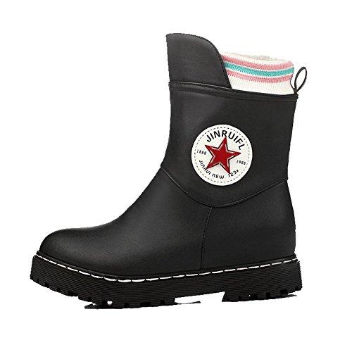 AllhqFashion Damen Gemischte Farbe Blend-Materialien Ziehen auf Rund Zehe Stiefel, Pink, 34