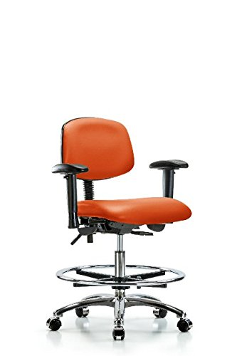 LabTech Seating LT45434 Medium Bench Chair, Vinyl, Chrome Base, Tilt, Arms, Chrome Foot Ring, Chrome Casters, Orange