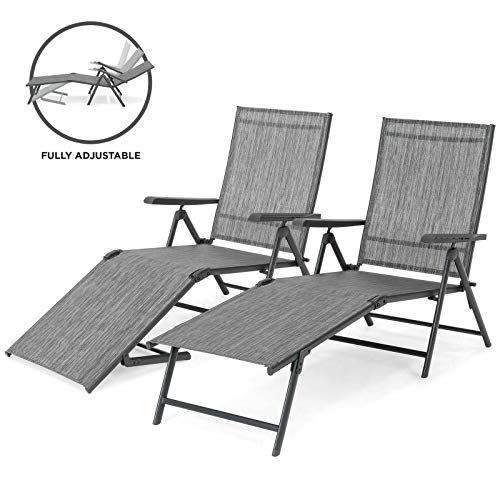 - AK Energy 2PC Gray Adjustable Outdoor Patio Chaise Recliner Lounge Chairs Patio Pool 4 Adjust Postion Back