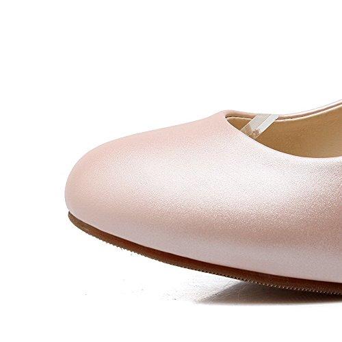 AgooLar Damen Schnalle Rund Zehe Hoher Absatz PU Rein Pumps Schuhe Pink