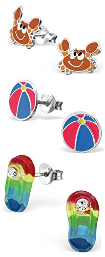 """Price comparison product image Best Wing Jewelry .925 Sterling Silver """"Beach"""" Set Children's Stud Earrings (SC001) (Set A: 3 Pcs)"""