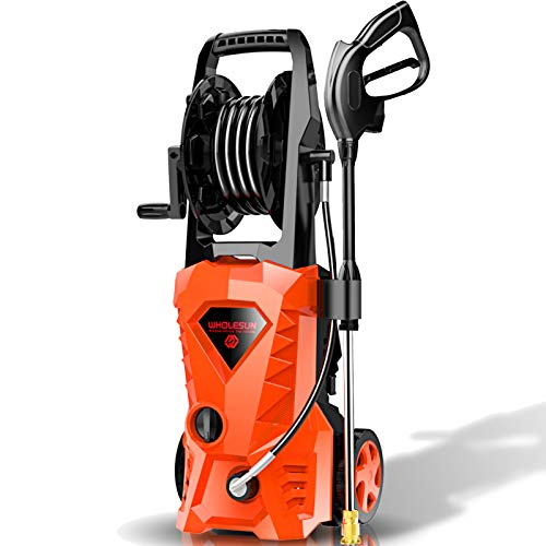 WHOLESUN 3000PSI Electric Pressure Washer 2.4GPM Power Washer 1600W High Pressure Cleaner Machine with 4 Nozzles Foam Cannon,Best for Cleaning Homes, Cars, Driveways, Patios (Orange)