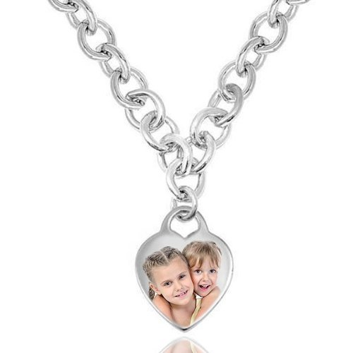 Sterling Silver Tiffany Style Heart Toggle Necklace - 18 Inch - Chain with (Heart Tiffany Style Necklace)