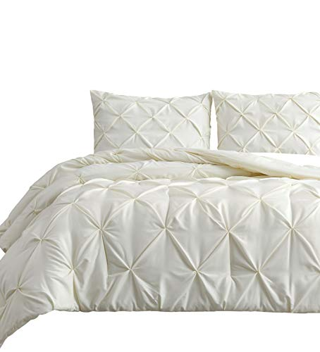 Estellar 3pc Queen Size Comforter Set Pinch Pleat, Pintuck Bedding | Ivory All Season All Season Bed Cover Set